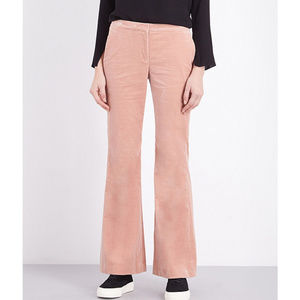 Theory Pale Rose Pink Stretch-Cotton Velvet Flare